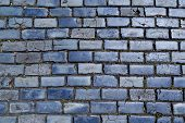 stock photo of paving  - blue cobblestone paved street in Old San Juan Puerto Rico - JPG