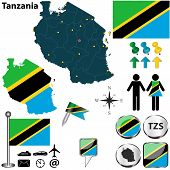 image of shilling  - Vector of Tanzania set with detailed country shape with region borders flags and icons - JPG