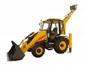 foto of backhoe  - New yellow backhoe on a white background - JPG
