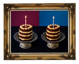 pic of nacked  - Chocolate birthday party nacked cake with vanilla cream and burning candle on antique ceramic stand with blue pattern purple background dark blue tablecloth golden antique carved picture frame isolated on white background - JPG