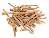 pic of ginseng  - Ginseng herb in a pile over a white background - JPG