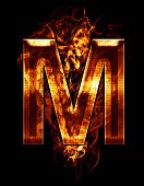 m, illustration of  letter with chrome effects and red fire on black background