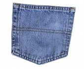 Back pocket of blue jeans on white background