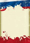 A poster with a large scratched frame and a grunge russian flag for your publicity.