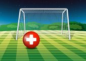 Illustration of a football field with the flag of Switzerland