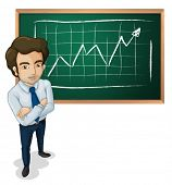 Illustration of a serious man in front of the board on a white background