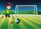 Illustration of a male player kicking the ball with the flag of Pakistan
