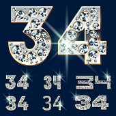 Ultimate vector alphabet of diamonds and platinum ingot. Six options. Numbers 3 4