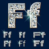Ultimate vector alphabet of diamonds and platinum ingot. Six options. Letter f
