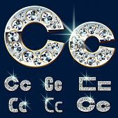Ultimate vector alphabet of diamonds and platinum ingot. Six options. Letter c