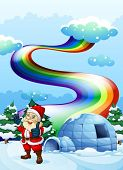 stock photo of igloo  - Illustration of a smiling Santa near the igloo with a rainbow in the sky - JPG
