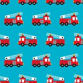 Seamless fire fighters red fire men truck illustration for boys background pattern in vector