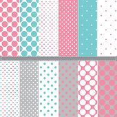 Polka Dot seamless pattern set