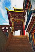 Oil Painting Stylized Photo Of Beautifully Painted, Ornamental Gate To A Tibetan Monastery In Xianch