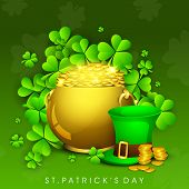 Happy St. Patrick's Day celebrations poster, banner or flyer design with traditional pot with full o