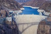 stock photo of dam  - Hoover Dam and Colorado river near Las Vegas Nevada - JPG