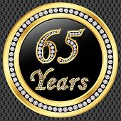 65 Years Anniversary Golden Happy Birthday Icon With Diamonds, Vector Illustration
