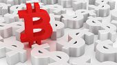 picture of bitcoin  - Single Bitcoin symbol among many dollar symbols - JPG