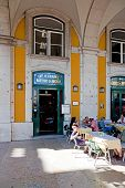 Lisbon, Portugal - August 10, 2013: The historical Cafe Martinho da Arcada. The oldest cafe of Lisbo