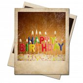 Old polaroid birthday candles instant photo frame isolated