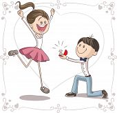 pic of propose  - Vector cartoon of a cute young man proposing to a very happy bride - JPG