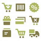 Shopping web icons, olive mix set