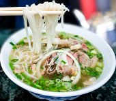 stock photo of cilantro  - Bowl of Vietnamese pho noodle soup with rare beef tendon tripe and brisket served with onions scallions and cilantro - JPG