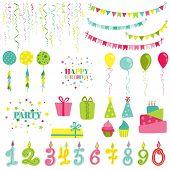 stock photo of birthday  - Birthday and Party Set  - JPG