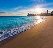 image of costa blanca  - Benidorm Alicante playa de Poniente beach sunset in spain Valencian community - JPG