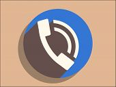 Flat long shadow icon of a phone