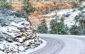 pic of icy road  - Winter Landscape with a curved icy road - JPG