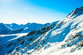 stock photo of gory  - Winter landscape of mountains covered snegom - JPG