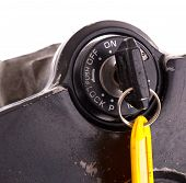 image of beep  - Key of an old motorcycle selective focus isolated  - JPG