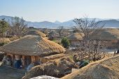Thatched Roof House In Korean Traditional Old Town Called Nakan In Korea