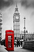 pic of phone-booth  - Red telephone booth and Big Ben in London - JPG