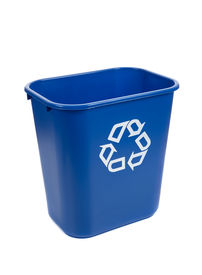 picture of recycle bin  - An empty blue recycle bin on a background - JPG