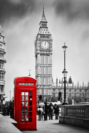 picture of phone-booth  - Red telephone booth and Big Ben in London - JPG