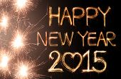 picture of sparking  - Happy new year 2015 written with Sparkling figures - JPG