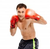 picture of muay thai  - Caucasian kickboxer or muay thai fighter executing a punch with motion blur - JPG