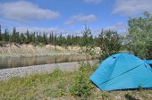 image of tent  - Camping tent by the river - JPG