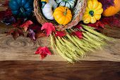 stock photo of cornucopia  - A cornucopia with squash gourds pumpkins wheat and leaves on an old antique harvest table - JPG