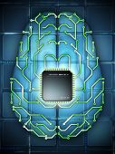 pic of microprocessor  - Microprocessor and printed circuit board as elements of an electronic brain - JPG