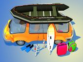 stock photo of blue things  - Car with things for tourism on a blue background - JPG