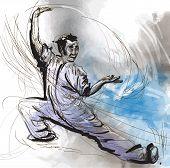 image of tai-chi  - An hand drawn illustration  - JPG