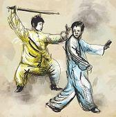 pic of tai-chi  - An hand drawn illustration  - JPG