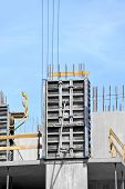 stock photo of formwork  - Concrete formwork and floor beams on construction site - JPG