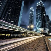 pic of hong kong bridge  - traffic in Hong Kong at night of city - JPG