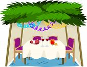 foto of sukkoth  - Vector illustration of Sukkah with ornaments table with food for the Jewish Holiday Sukkot - JPG