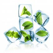 pic of mint-green  - Ice cubes with green mint leaves isolated on white background - JPG