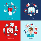 picture of heartbeat  - Medical emergency first aid health care icons flat set isolated vector illustration - JPG